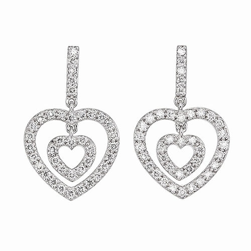 Add sparkle to your life with this fine diamond heart earrings from Adornet Jewels Collection.