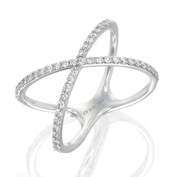 This criss cross ring is a sparkling & beautiful addition, stating for a stylish and elegance look, a great addition to your own unique stack. Every single piece is color F+ and SI+ clarity, and features round-cut (1.8mm) glistening diamonds in a delicate design.