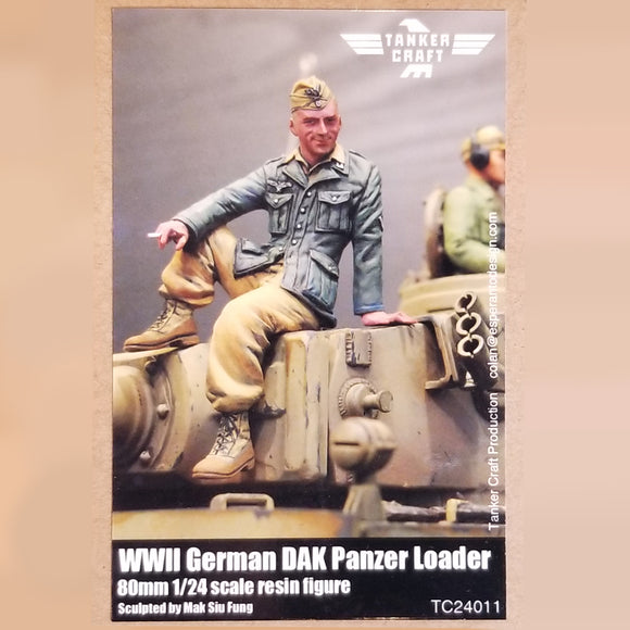 WWII German DAK Panzer Loader - 80mm 1/24 Scale Resin Figure