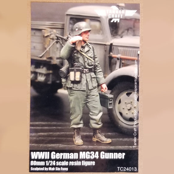 WWII German MG34 Gunner - 80mm 1/24 Scale Resin Figure