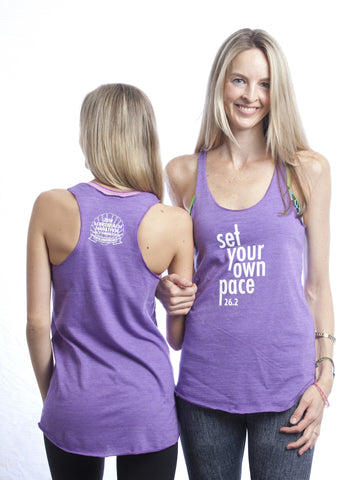 2014 - Set Your Own Pace 26.2 LBM w/ Shell Logo on back Purple Tank - Women's