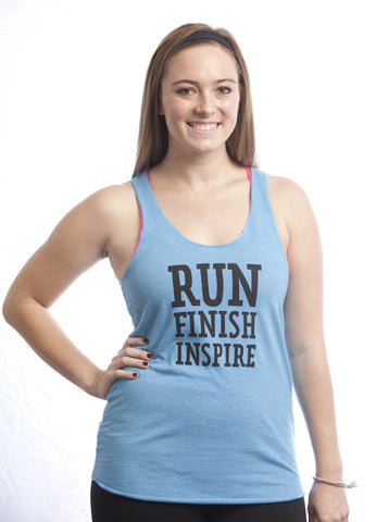 2014 - Run.Finish.Inspire. w/ Shell Logo on back Turquoise Tank - Women's