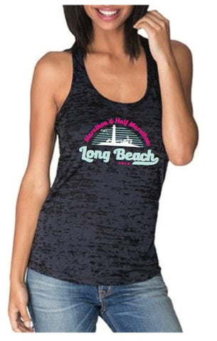 2016 Long Beach Black Burnout Racerback Tank - Women's