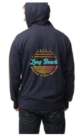 2016 Long Beach Navy or Charcoal Heather French Terry Zip Hooded Sweatshirt - Unisex
