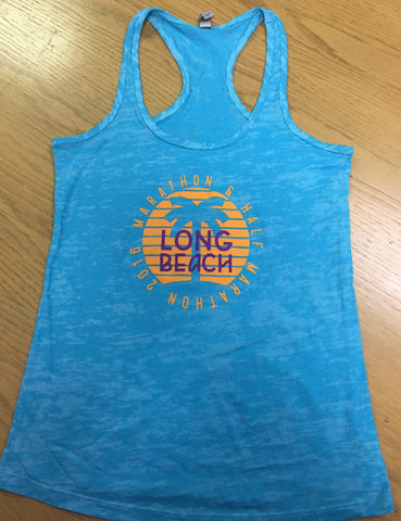2016 Long Beach Tahiti Blue Burnout Racerback Tank - Women's