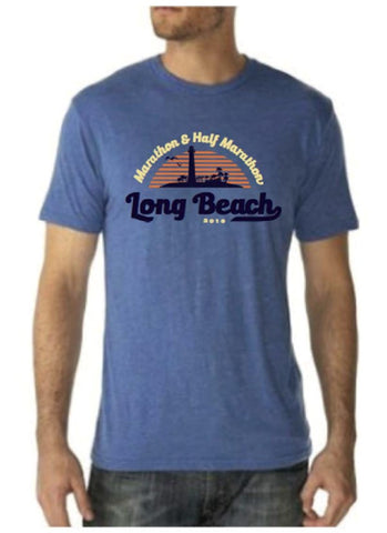 2016 Long Beach vintage Royal Blue Tri-Blend T-Shirt - Men's