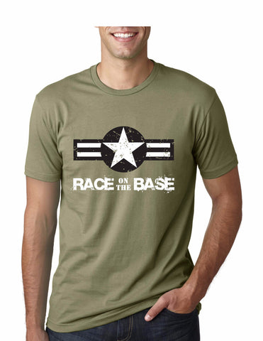 Race on the Base Olive Green W/Star Black and White Logo SS - Men's