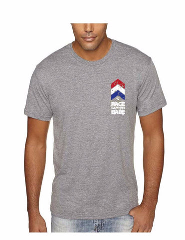 Race on the Base Grey w/Red White and Blue Stripes on Pocket SS - Men's