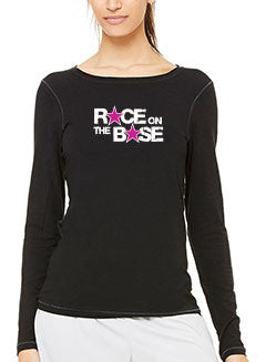 Race on the Base Black LS w/Fuschsia Stars - Women's