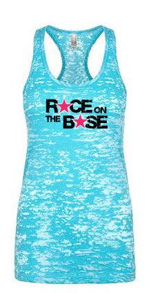 Race on the Base Blue Burnout Racerback Tank w/Hot Pink Stars - Women's