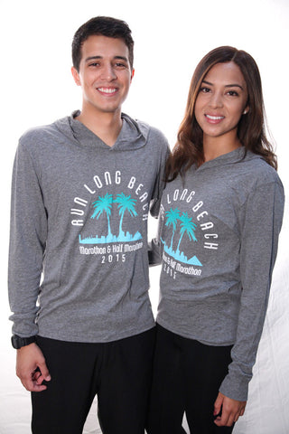 Grey 2015 Run Long Beach w/Palm Trees Lt.Wt. Hooded pullover Unisex