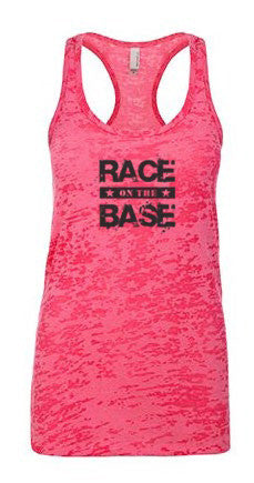Race on the Base Pink Burnout Racerback Tank - Women's
