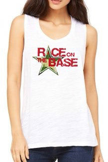 Race on the Base White Slub Flowy Scoop Muscle Tank - Women's