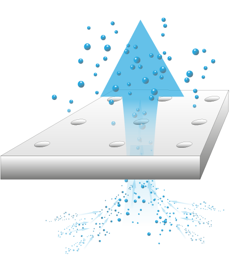 Diagram showing vivo insulation with water passing through breathability