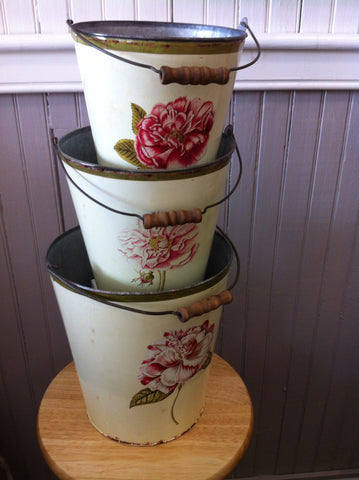 Tin Buckets with Flower