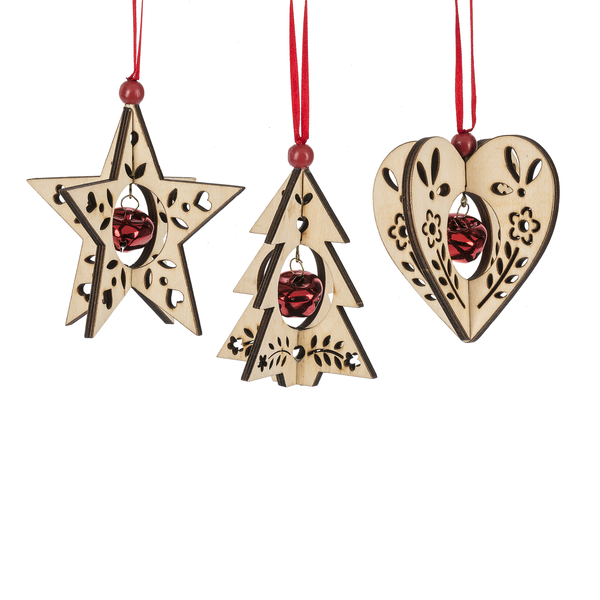 Plywood Ornaments with Bells