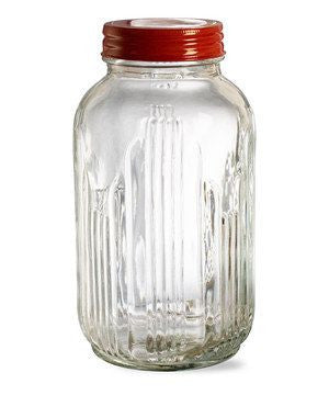 Red Lid Vintage Glass Jars