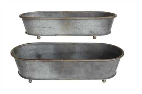 Tin Oval Planter Tray