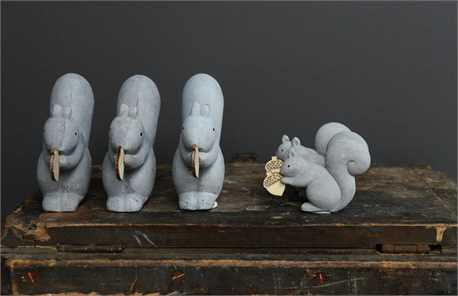 Birds and Squirrels, Cement Animal Ornaments