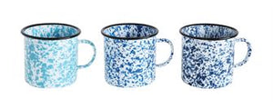 Spatterware Enameled Tin Mugs