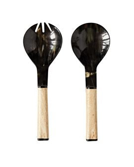 Mango Wood and Horn Serving Utensils