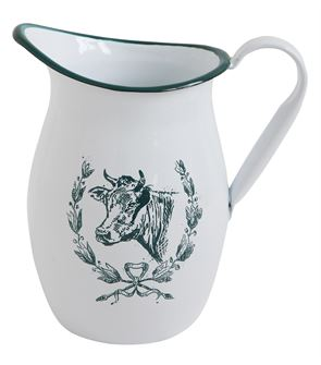 Enameled Tin Pitcher with Cow