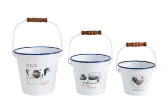 Enameled Tin Buckets with Animals