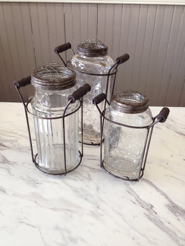 Jar Vase with Metal Handles