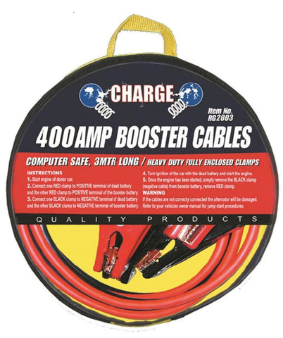 400 Amp Computer Safe Booster Cable with Insulated Clamps