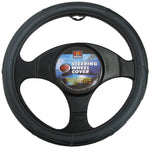 38cm Rough Leather Look Steering Wheel Cover - Grey