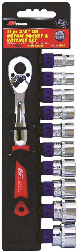 Socket & Ratchet Set - 11pc 3/8inch DR 10, 11, 12, 13, 14, 15, 17, 19, 22, & 24mm
