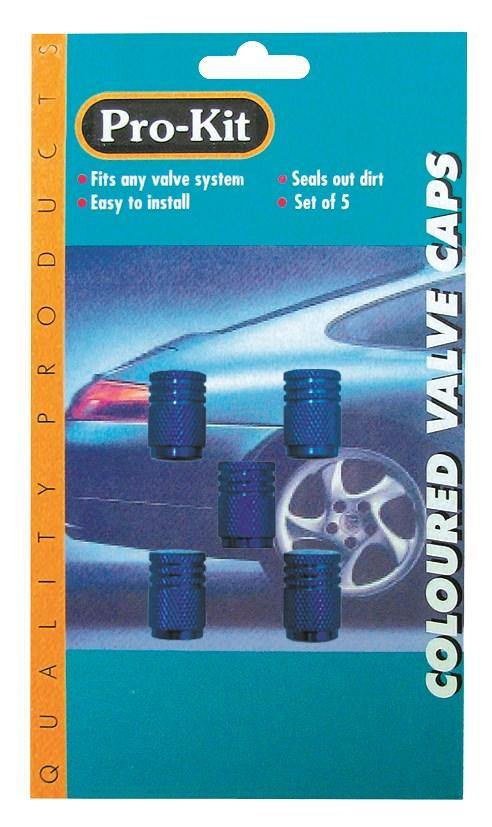 Anodized Valve Caps 5pc - Blue