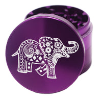 "Laser Engraved Herb Grinder - 2.2"" Inch 4 Piece Aluminum Crusher - Purple"