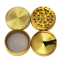 "Laser Engraved Herb Grinder - 2.2"" Inch 4 Piece Aluminum Crusher - Gold"