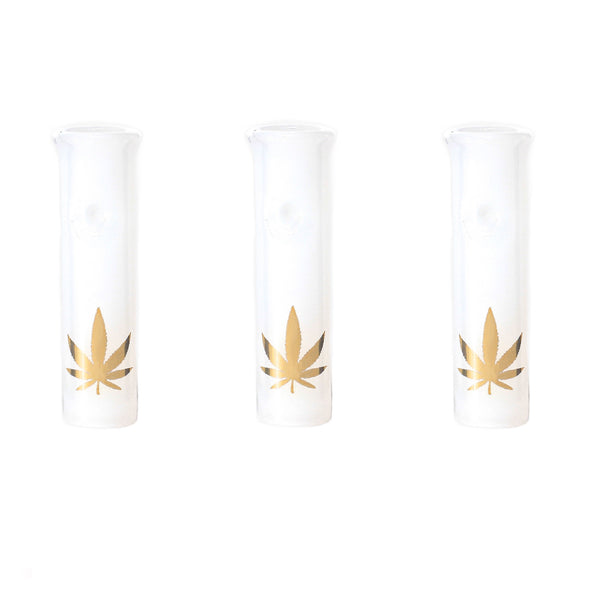 Glass Filter Tips - 3 White Round Mouthpiece Tips