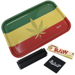 "Full Size Rolling Tray Bundle – 12"" x 8"" Tray – Rasta"
