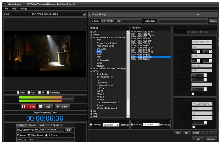 Marsis Channel in a Box Playout, CGe ingesta de video de 1 canal