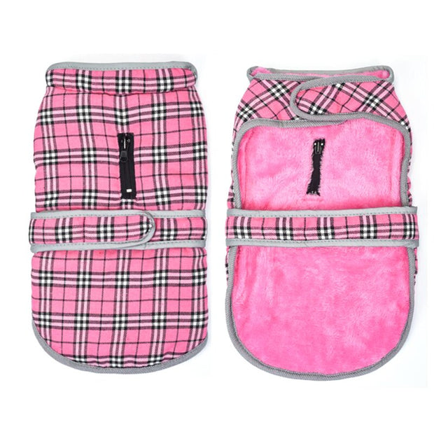 Outside and inside of folded pink jacket vest