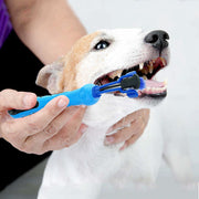 Person using Three Head Dog Tooth Brush on a dog