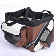 Brown and white Portable dog bicycle carrier bag