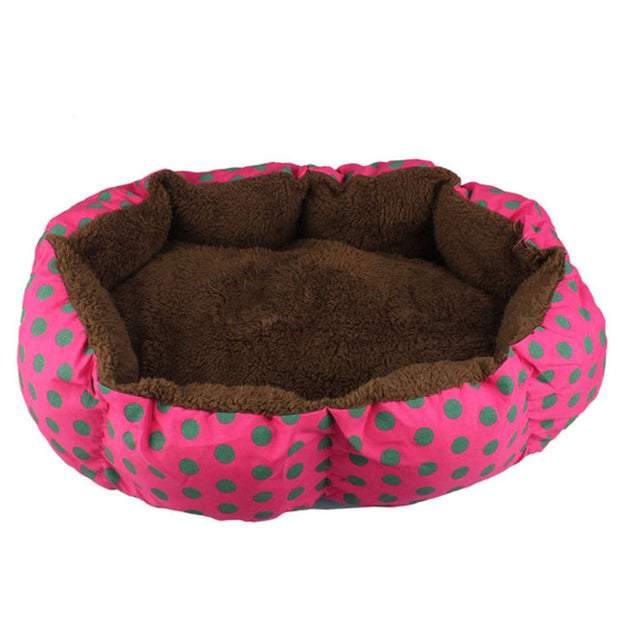 Bright reddish pink with brown dots and brown interior Soft Fleece Nest Bed