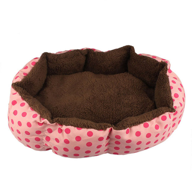 Pink with red dots and brown inside Soft Fleece Nest Bed