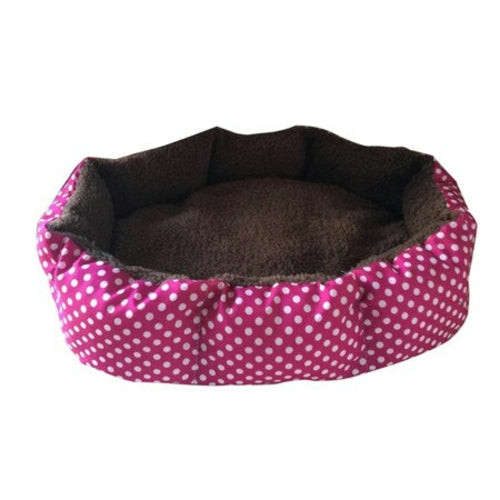 Purple with white dots  and brown interior Soft Fleece Nest Bed