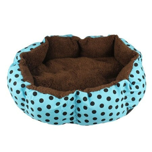 Light blue with brown dots Soft Fleece Nest Bed