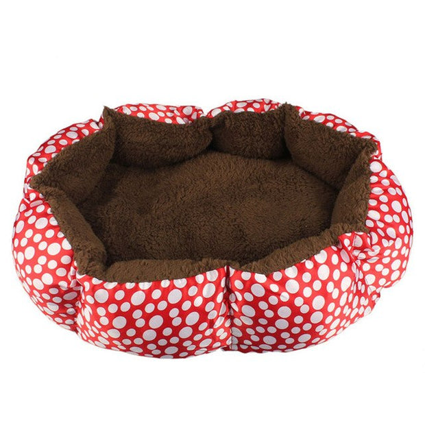 Red with white dots and brown interior Soft Fleece Nest Bed