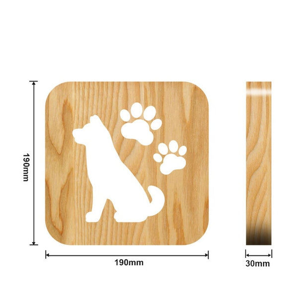 Wooden Dog shape with paws Night Light Measurements