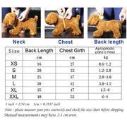 Size chart for  Warm sweater dog hoodie