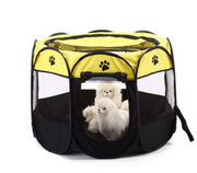 Yellow eight sided foldable dog tent