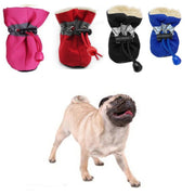 Pink, red, black, and blue Soft-Soled Waterproof Dog Shoes collection with dog