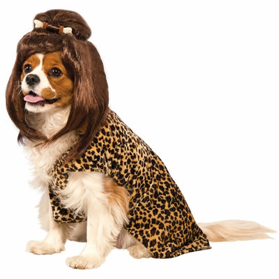 Dog wearing cave girl costume